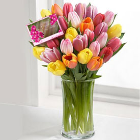 Caress of Tulips  FREE CARD! - Flowers to  Lawrence